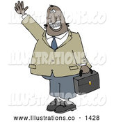 Royalty Free Stock Illustration of a Friendly African American Businessman with Braces, Smiling, Waving and Carrying a Briefcase by Djart
