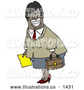 Royalty Free Stock Illustration of a Friendly African American Businesswoman with Braces, Smiling and Carrying a Letter and Briefcase by Djart