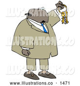Royalty Free Stock Illustration of a Friendly Bald Black Businessman Holding up Keys on a Ring by Djart