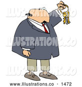 Royalty Free Stock Illustration of a Friendly Bald White Businessman Holding up Keys on a Ring by Djart