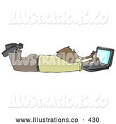 November 7th, 2013: Royalty Free Stock Illustration of a Friendly Balding African American Businessman in a Green Shirt and Slacks, Lying on His Stomach While Typing on a Laptop Computer That Is Set on Wireless Internet by Djart