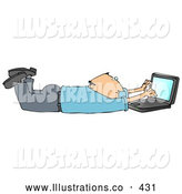 November 7th, 2013: Royalty Free Stock Illustration of a Friendly Balding Caucasian Businessman in a Blue Shirt and Slacks, Lying on His Stomach While Typing on a Laptop Computer That Is Set on Wireless Internet by Djart