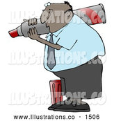 Royalty Free Stock Illustration of a Friendly Black Business Guy Carrying a Big Red Marker on His Shoulder and Writing by Djart