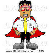 Royalty Free Stock Illustration of a Friendly Black Businessman Mascot Character Dressed As a Super Hero by Toons4Biz