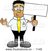 Royalty Free Stock Illustration of a Friendly Black Businessman Mascot Character Holding a Blank Sign by Toons4Biz