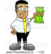 Royalty Free Stock Illustration of a Friendly Black Businessman Mascot Character Holding a Dollar Bill by Toons4Biz