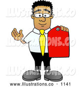 Royalty Free Stock Illustration of a Friendly Black Businessman Mascot Character Holding a Red Sales Price Tag by Toons4Biz
