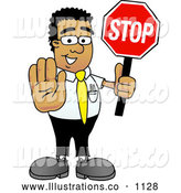 Royalty Free Stock Illustration of a Friendly Black Businessman Mascot Character Holding a Stop Sign by Toons4Biz