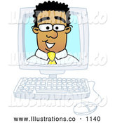 Royalty Free Stock Illustration of a Friendly Black Businessman Mascot Character Looking out from Inside a Computer Screen by Toons4Biz