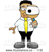 Royalty Free Stock Illustration of a Friendly Black Businessman Mascot Character Looking Through a Magnifying Glass by Toons4Biz