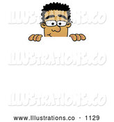 Royalty Free Stock Illustration of a Friendly Black Businessman Mascot Character Peeking over a Surface by Toons4Biz