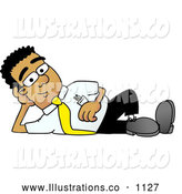 Royalty Free Stock Illustration of a Friendly Black Businessman Mascot Character Resting His Head on His Hand by Toons4Biz