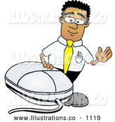 Royalty Free Stock Illustration of a Friendly Black Businessman Mascot Character with a Computer Mouse by Toons4Biz