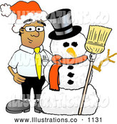 Royalty Free Stock Illustration of a Friendly Black Businessman Mascot Character with a Snowman on Christmas by Toons4Biz