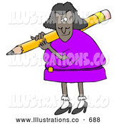 November 14th, 2013: Royalty Free Stock Illustration of a Friendly Black Lady in a Purple Dress, Carrying a Giant Yellow Pencil over Her Shoulder by Djart