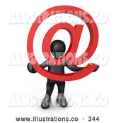 Royalty Free Stock Illustration of a Friendly Black Person Holding a Red at Symbol with His Head Peeking Through the Center by 3poD