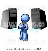 Royalty Free Stock Illustration of a Friendly Blue Business Man Standing in Front of Servers by Leo Blanchette