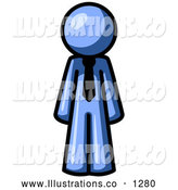 Royalty Free Stock Illustration of a Friendly Blue Business Man Wearing a Tie, Standing with His Arms at His Side by Leo Blanchette