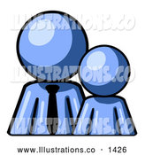 November 13th, 2013: Royalty Free Stock Illustration of a Friendly Blue Child or Employee Standing Beside a Bigger Blue Businessman, Symbolizing Management, Parenting or Mentorship by Leo Blanchette