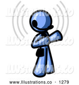 Royalty Free Stock Illustration of a Friendly Blue Customer Service Representative Taking a Call with a Headset in a Call Center by Leo Blanchette