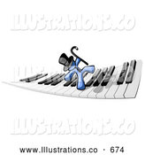 Royalty Free Stock Illustration of a Friendly Blue Man Dancing and Walking on a Piano Keyboard by Leo Blanchette