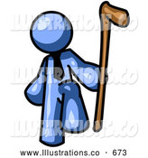 Royalty Free Stock Illustration of a Friendly Blue Man Holding a Cane by Leo Blanchette