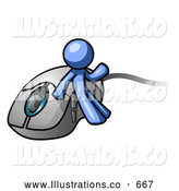 Royalty Free Stock Illustration of a Friendly Blue Man Leaning Against a Computer Mouse by Leo Blanchette