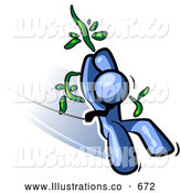 Royalty Free Stock Illustration of a Friendly Blue Man Swinging on a Vine like Tarzan by Leo Blanchette