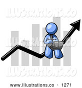 Royalty Free Stock Illustration of a Friendly Blue Man Using a Laptop Computer, Riding the Increasing Arrow Line on a Business Chart Graph by Leo Blanchette