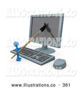 Royalty Free Stock Illustration of a Friendly Blue Person, a Cartoonist, Using a Paintbrush on a Flat Screen Computer Monitor to Create an Image, or This Could Be a Designer Designing a Website by 3poD