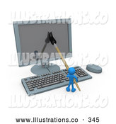 Royalty Free Stock Illustration of a Friendly Blue Person, an Illustrator, Using a Paintbrush on a Flat Screen Computer Monitor to Create an Image, or This Could Be a Designer Designing a Website by 3poD