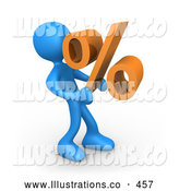 Royalty Free Stock Illustration of a Friendly Blue Person Carrying a Heavy Orange Percentage Sign by 3poD