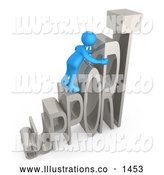 Royalty Free Stock Illustration of a Friendly Blue Person Climbing and Adjusting Letters Reading SUPPORT, Symbolizing Customer Service by 3poD