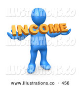 Royalty Free Stock Illustration of a Friendly Blue Person Holding an Orange Income Sign by 3poD