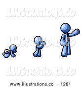 Royalty Free Stock Illustration of a Friendly Blue Person in His Growth Stages of Life, As a Baby, Child and Adult by Leo Blanchette