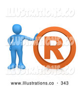 Royalty Free Stock Illustration of a Friendly Blue Person Leaning Against an Orange Registered Trademark Symbol by 3poD