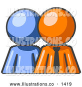 Royalty Free Stock Illustration of a Friendly Blue Person Standing Beside an Orange Businessman, Symbolizing Teamwork or Mentoring by Leo Blanchette