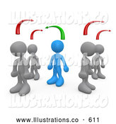 Royalty Free Stock Illustration of a Friendly Blue Person Standing Between Two Different Rows of Grey People, Thinking Differently from Others by 3poD