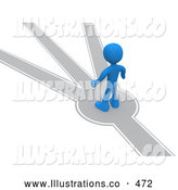 Royalty Free Stock Illustration of a Friendly Blue Person Standing on a Path That Forks off into Different Directions, Trying to Decide Which Way to Go by 3poD