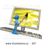 Royalty Free Stock Illustration of a Friendly Blue Person Using a Paintbrush on a Flat Screen Computer Monitor to Create an Image, or This Could Be a Designer Designing a Website by 3poD