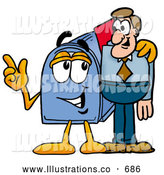 Royalty Free Stock Illustration of a Friendly Blue Postal Mailbox Cartoon Character Talking to a Business Man by Toons4Biz