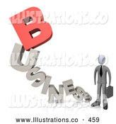 Royalty Free Stock Illustration of a Friendly Businessman Holding a Briefcase and Standing at the End of the Word Business with a Red Letter B by 3poD
