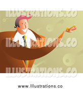 Royalty Free Stock Illustration of a Friendly Businessman Holding a Key over Green by Prawny