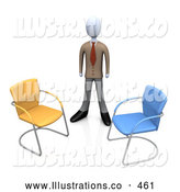 Royalty Free Stock Illustration of a Friendly Businessman in a Suit, Standing Between an Orange and a Blue Chair, Symbolizing Two Different Job Opportunities That He Must Choose Between by 3poD