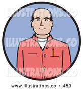 Royalty Free Stock Illustration of a Friendly Caucasian Businessman Dressed in a Casual Red Shirt with a Pencil in the Pocket by Andy Nortnik