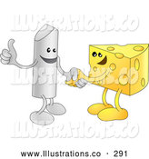 Royalty Free Stock Illustration of a Friendly Chalk Character Giving the Thumbs up and Shaking Hands with a Wedge of Swiss Cheese While Agreeing on a Business Deal by AtStockIllustration