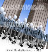Royalty Free Stock Illustration of a Friendly Crowd of Businessmen Standing Together in Front of Tall Office Building Skyscrapers, Symbolizing Teamwork or Cloning by 3poD