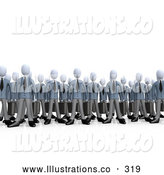 Royalty Free Stock Illustration of a Friendly Crowd of Businessmen Standing Together, Symbolizing Teamwork or Cloning by 3poD