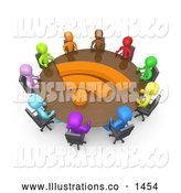 Royalty Free Stock Illustration of a Friendly Diverse Group of Business People of Different Colors in a Meeting by 3poD
