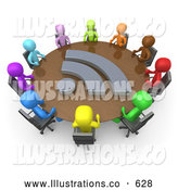 Royalty Free Stock Illustration of a Friendly Diverse Group of Colorful Business People Seated at a Round Conference Table During a Business Meeting in an Office by 3poD